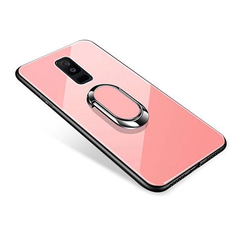 Samsung Galaxy A6 Plus用ハイブリットバンパーケース プラスチック 鏡面 カバー アンド指輪 サムスン ローズゴールド