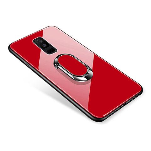 Samsung Galaxy A6 Plus用ハイブリットバンパーケース プラスチック 鏡面 カバー アンド指輪 サムスン レッド