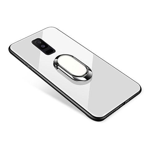 Samsung Galaxy A6 Plus用ハイブリットバンパーケース プラスチック 鏡面 カバー アンド指輪 サムスン ホワイト