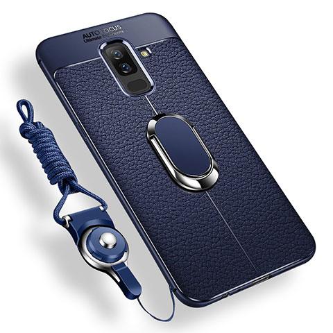 Samsung Galaxy A6 Plus用極薄ソフトケース シリコンケース 耐衝撃 全面保護 アンド指輪 マグネット式 バンパー サムスン ネイビー