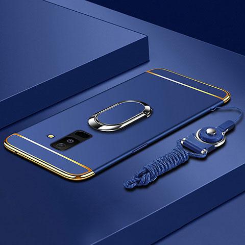 Samsung Galaxy A6 Plus用ケース 高級感 手触り良い メタル兼プラスチック バンパー アンド指輪 亦 ひも サムスン ネイビー