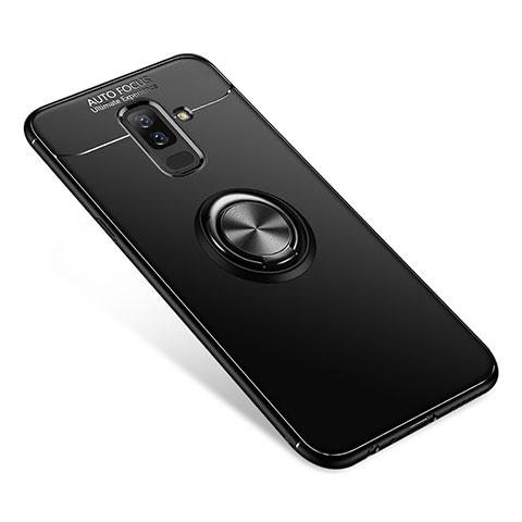 Samsung Galaxy A6 Plus用極薄ソフトケース シリコンケース 耐衝撃 全面保護 アンド指輪 バンパー サムスン ブラック
