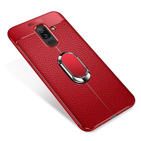 Samsung Galaxy A6 Plus用極薄ソフトケース シリコンケース 耐衝撃 全面保護 アンド指輪 マグネット式 バンパー S01 サムスン レッド