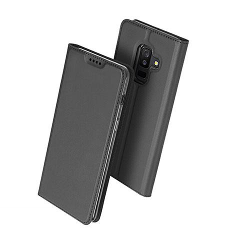Samsung Galaxy A6 Plus用手帳型 レザーケース スタンド サムスン ブラック