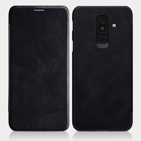Samsung Galaxy A6 Plus用手帳型 レザーケース スタンド L01 サムスン ブラック