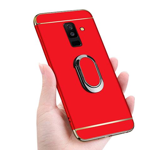 Samsung Galaxy A6 Plus用ケース 高級感 手触り良い メタル兼プラスチック バンパー アンド指輪 マグネット式 サムスン レッド