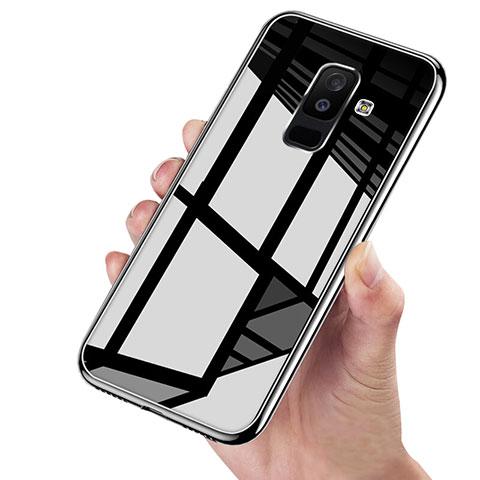 Samsung Galaxy A6 Plus用360度 フルカバーハイブリットバンパーケース クリア透明 プラスチック 鏡面 サムスン ブラック