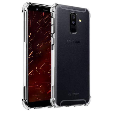 Samsung Galaxy A6 Plus用極薄ソフトケース シリコンケース 耐衝撃 全面保護 クリア透明 T04 サムスン クリア