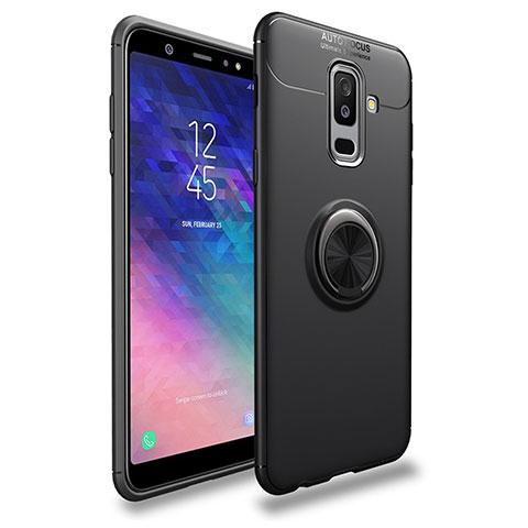 Samsung Galaxy A6 Plus用極薄ソフトケース シリコンケース 耐衝撃 全面保護 アンド指輪 マグネット式 A03 サムスン ブラック