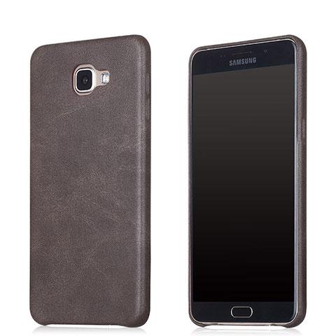 Samsung Galaxy A8 (2016) A8100 A810F用ケース 高級感 手触り良いレザー柄 サムスン ブラウン