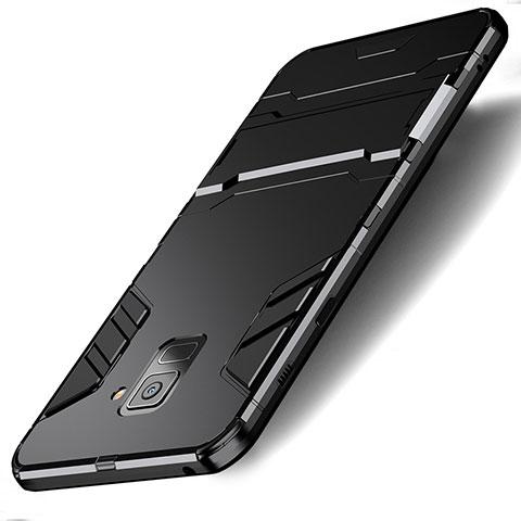 Samsung Galaxy A8 (2018) A530F用ハイブリットバンパーケース スタンド プラスチック 兼シリコーン サムスン ブラック