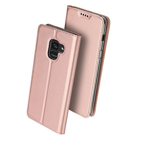 Samsung Galaxy A8 (2018) A530F用手帳型 レザーケース スタンド サムスン ローズゴールド