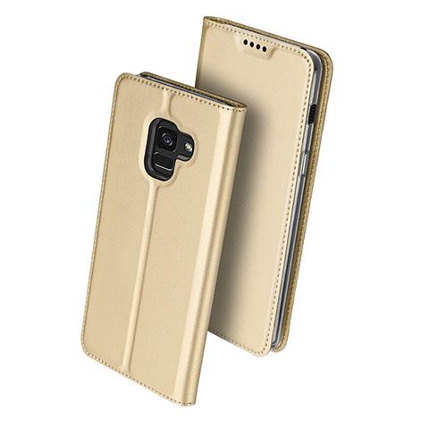 Samsung Galaxy A8 (2018) A530F用手帳型 レザーケース スタンド サムスン ゴールド