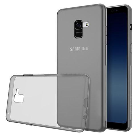 Samsung Galaxy A8 (2018) Duos A530F用極薄ソフトケース シリコンケース 耐衝撃 全面保護 クリア透明 カバー サムスン グレー