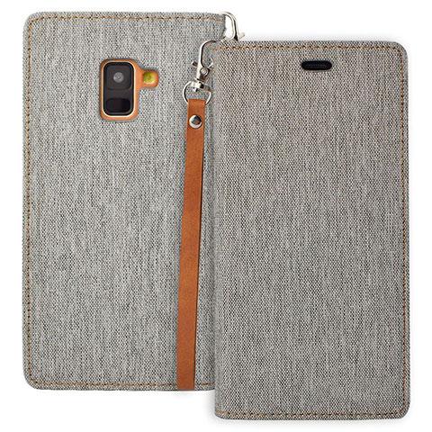 Samsung Galaxy A8 (2018) Duos A530F用手帳型 レザーケース スタンド L01 サムスン グレー