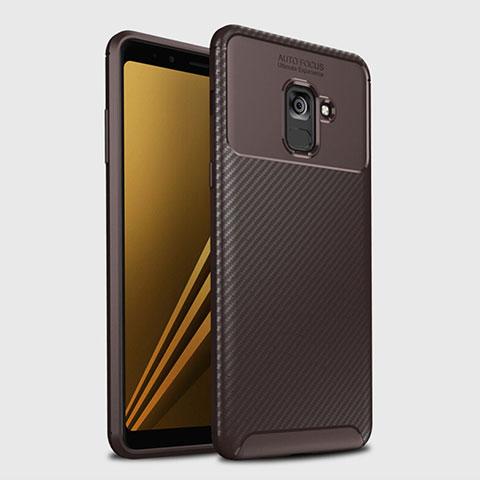 Samsung Galaxy A8+ A8 Plus (2018) A730F用シリコンケース ソフトタッチラバー ツイル カバー S01 サムスン ブラウン
