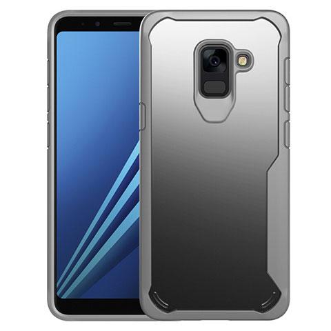 Samsung Galaxy A8+ A8 Plus (2018) A730F用ハイブリットバンパーケース クリア透明 プラスチック 鏡面 カバー サムスン グレー