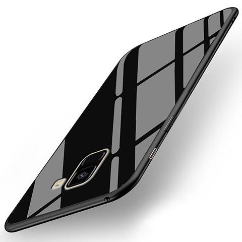 Samsung Galaxy A8+ A8 Plus (2018) A730F用シリコンケース ソフトタッチラバー 鏡面 サムスン ブラック