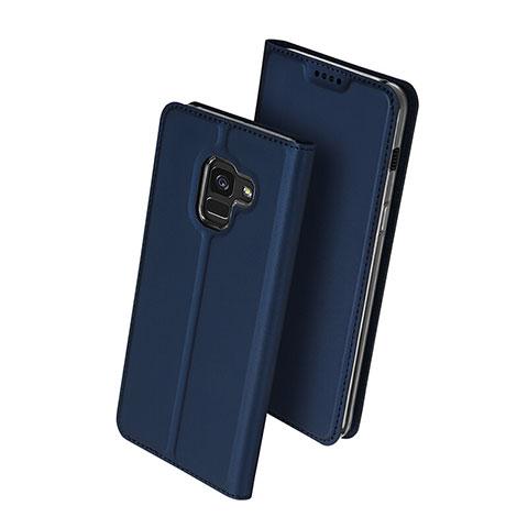 Samsung Galaxy A8+ A8 Plus (2018) A730F用手帳型 レザーケース スタンド サムスン ネイビー