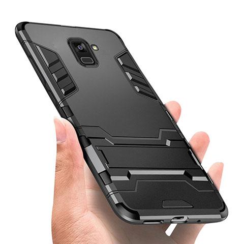Samsung Galaxy A8+ A8 Plus (2018) A730F用ハイブリットバンパーケース スタンド プラスチック 兼シリコーン W01 サムスン ブラック