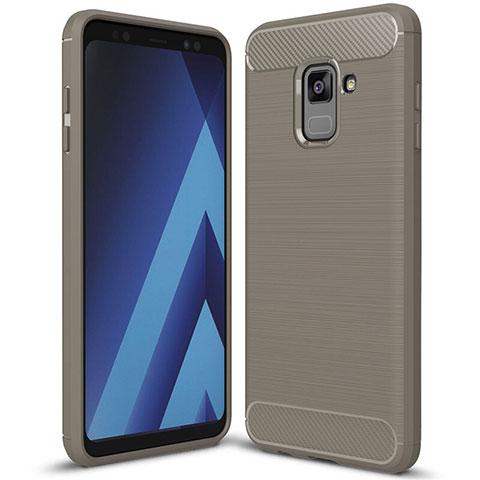 Samsung Galaxy A8+ A8 Plus (2018) Duos A730F用シリコンケース ソフトタッチラバー ツイル カバー サムスン グレー