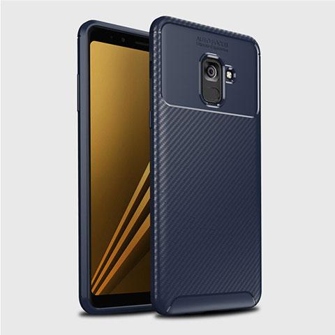 Samsung Galaxy A8+ A8 Plus (2018) Duos A730F用シリコンケース ソフトタッチラバー ツイル カバー S01 サムスン ネイビー