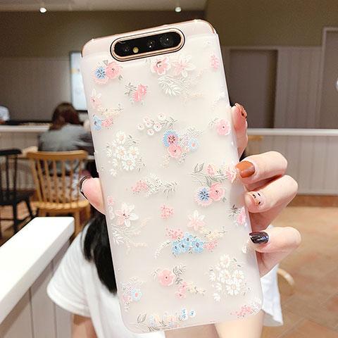 Samsung Galaxy A80用シリコンケース ソフトタッチラバー 花 カバー S03 サムスン ピンク