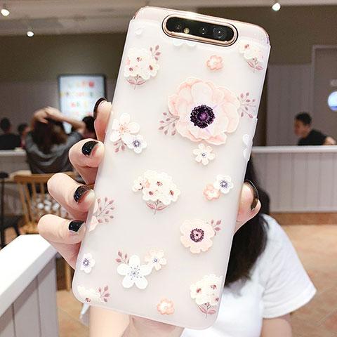 Samsung Galaxy A80用シリコンケース ソフトタッチラバー 花 カバー S04 サムスン ピンク