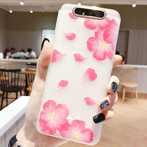 Samsung Galaxy A80用シリコンケース ソフトタッチラバー 花 カバー S05 サムスン ピンク
