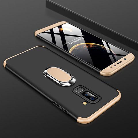 Samsung Galaxy A9 Star Lite用ハードケース プラスチック 質感もマット 前面と背面 360度 フルカバー アンド指輪 サムスン ゴールド・ブラック