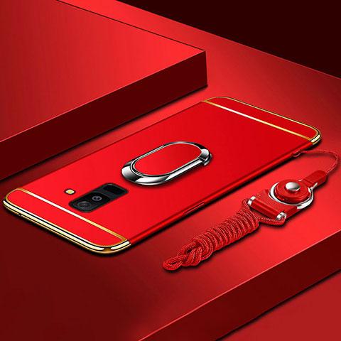Samsung Galaxy A9 Star Lite用ケース 高級感 手触り良い メタル兼プラスチック バンパー アンド指輪 亦 ひも サムスン レッド