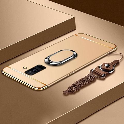 Samsung Galaxy A9 Star Lite用ケース 高級感 手触り良い メタル兼プラスチック バンパー アンド指輪 亦 ひも サムスン ゴールド