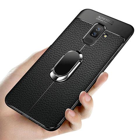 Samsung Galaxy A9 Star Lite用極薄ソフトケース シリコンケース 耐衝撃 全面保護 アンド指輪 マグネット式 A02 サムスン ブラック