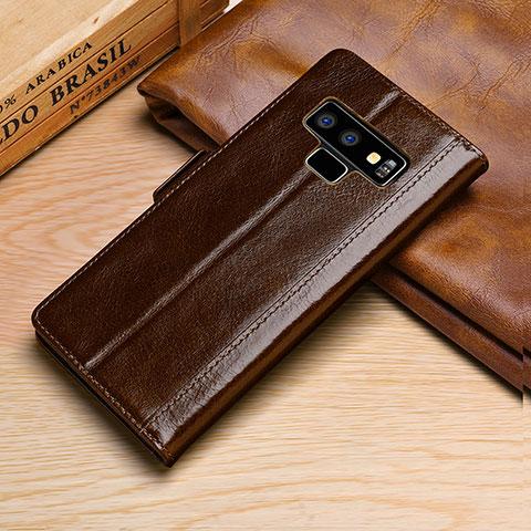 Samsung Galaxy Note 9用手帳型 レザーケース スタンド カバー P01 サムスン ブラウン