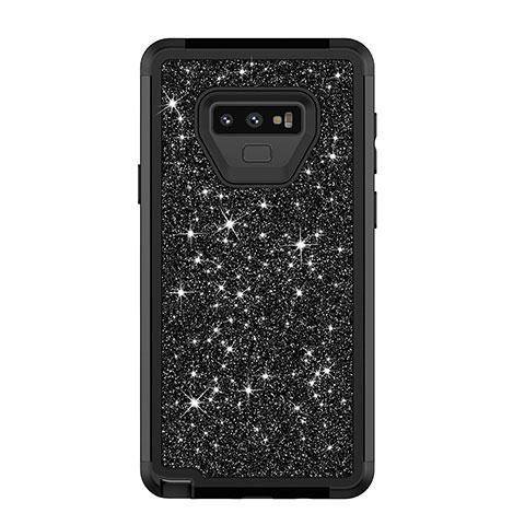 Samsung Galaxy Note 9用ハイブリットバンパーケース ブリンブリン カバー 前面と背面 360度 フル サムスン ブラック