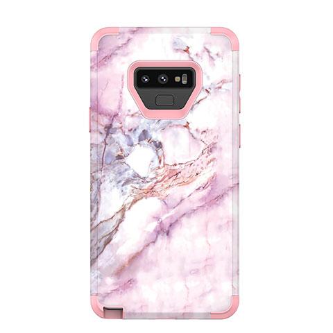 Samsung Galaxy Note 9用ハイブリットバンパーケース プラスチック 兼シリコーン カバー 前面と背面 360度 フル サムスン ローズゴールド