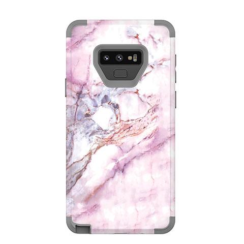 Samsung Galaxy Note 9用ハイブリットバンパーケース プラスチック 兼シリコーン カバー 前面と背面 360度 フル サムスン グレー