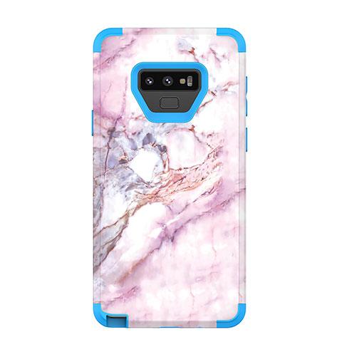 Samsung Galaxy Note 9用ハイブリットバンパーケース プラスチック 兼シリコーン カバー 前面と背面 360度 フル サムスン ネイビー