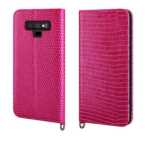 Samsung Galaxy Note 9用手帳型 レザーケース スタンド カバー P04 サムスン ローズレッド