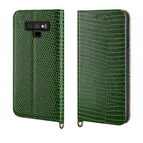 Samsung Galaxy Note 9用手帳型 レザーケース スタンド カバー P04 サムスン グリーン