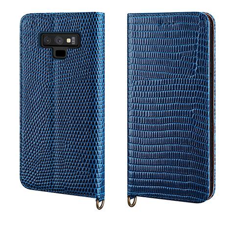 Samsung Galaxy Note 9用手帳型 レザーケース スタンド カバー P04 サムスン ネイビー