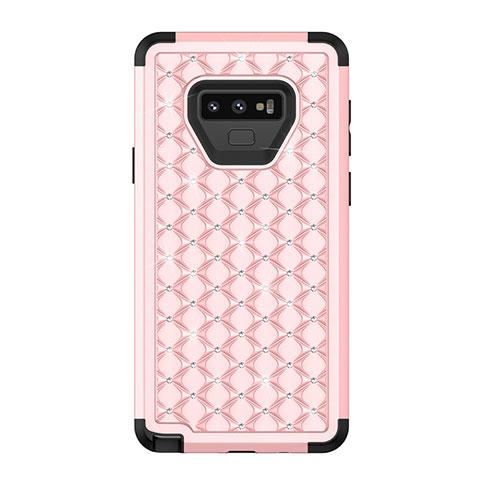 Samsung Galaxy Note 9用ハイブリットバンパーケース ブリンブリン カバー 前面と背面 360度 フル U01 サムスン ピンク