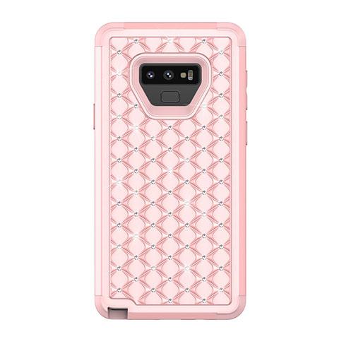 Samsung Galaxy Note 9用ハイブリットバンパーケース ブリンブリン カバー 前面と背面 360度 フル U01 サムスン ローズゴールド