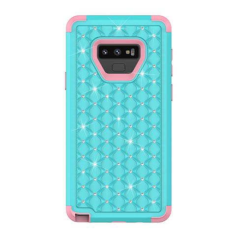Samsung Galaxy Note 9用ハイブリットバンパーケース ブリンブリン カバー 前面と背面 360度 フル U01 サムスン シアン