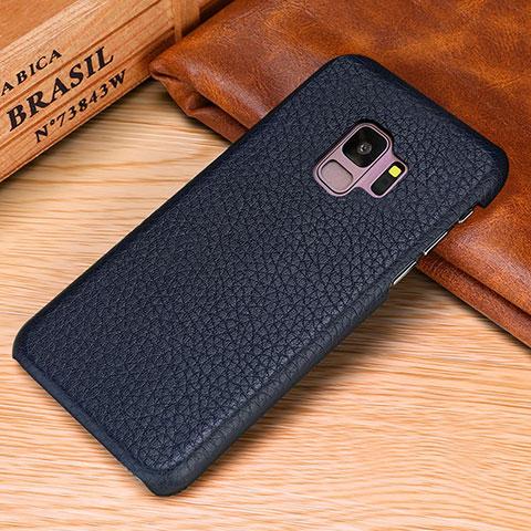 Samsung Galaxy S9用ケース 高級感 手触り良いレザー柄 P01 サムスン ネイビー