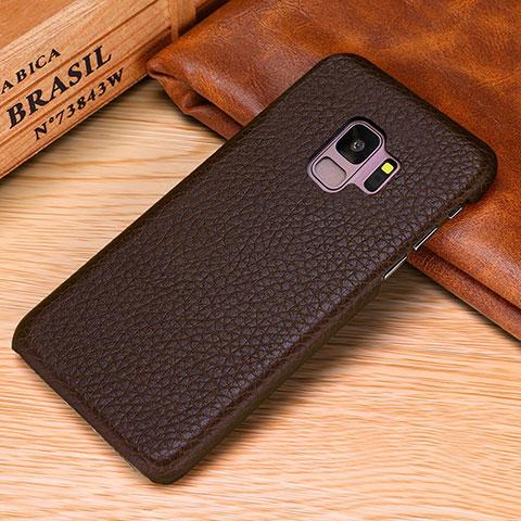 Samsung Galaxy S9用ケース 高級感 手触り良いレザー柄 P01 サムスン ブラウン