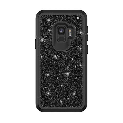 Samsung Galaxy S9用ハイブリットバンパーケース ブリンブリン カバー 前面と背面 360度 フル サムスン ブラック
