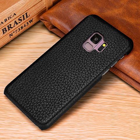 Samsung Galaxy S9 Plus用ケース 高級感 手触り良いレザー柄 P01 サムスン ブラック