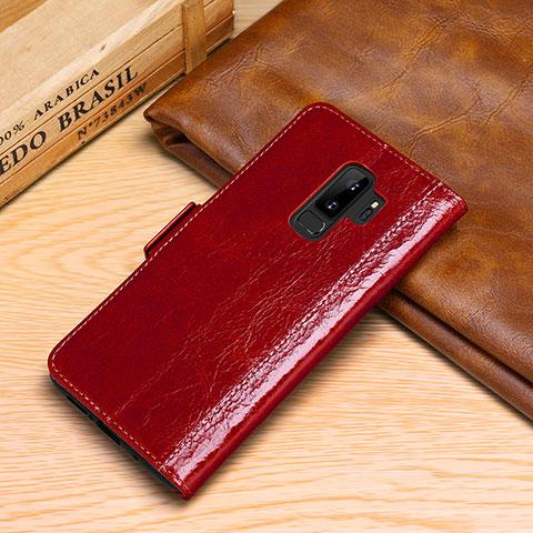 Samsung Galaxy S9 Plus用手帳型 レザーケース スタンド カバー P01 サムスン レッド