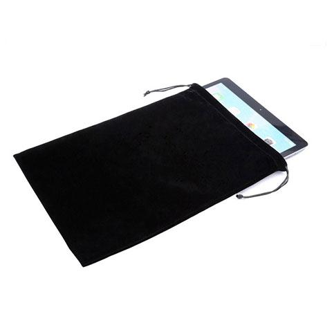 Samsung Galaxy Tab S2 9.7 SM-T810 SM-T815用高品質ソフトベルベットポーチバッグ ケース サムスン ブラック